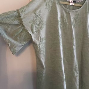 DC Jeans Boxy Patterned Shirt Ruffle Sleeve Size X